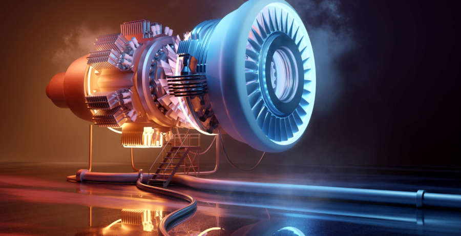 Futuristic jet engine technology background. Engineering and technology 3D illustration.